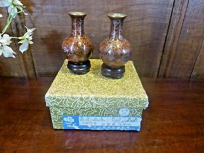 BOXED Cloisonne SET of 2 small VASES on STANDS - 7cms
