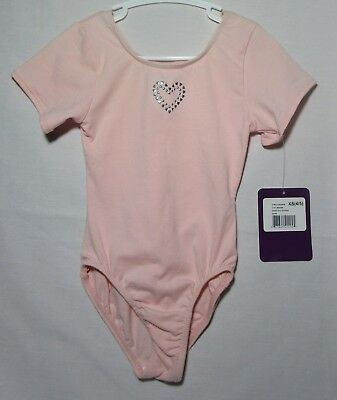 Just Imagine NWT short sleeve pink leotard w/gemstone heart size XS (4-5)