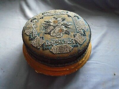 Antique Beadwork Footstool. Wonderful  Floral Bead Decoration Stool With Label