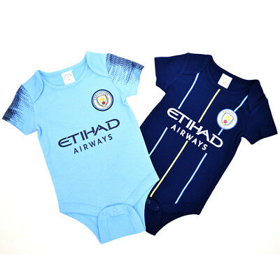 Manchester City Bodysuit 2 Pack 0/3 Months 18/19 Babygrow Gift Official Licensed
