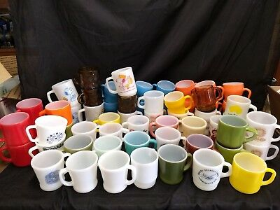 Lot Of Fire King, Anchor Hocking, Federal, Snoopy And Pyrex Mugs