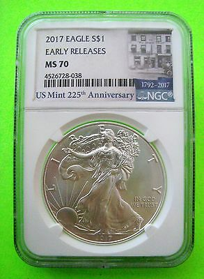 2017 AMERICAN SILVER EAGLE NGC MS70 EARLY RELEASES - 225th ANNIV LABEL 1oz Coin
