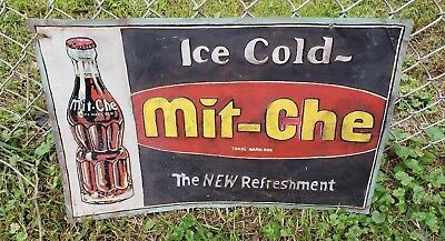 RARE Antique Mit-che Soda Embossed Advertising Sign 1930's Soda Bottle Pictorial