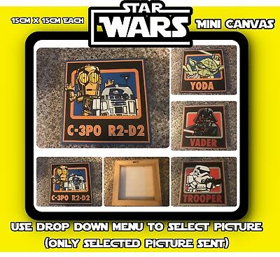 Star Wars Mini Canvas Pictures (15x 15cm) Yoda Vader C3P0 Trooper - Used