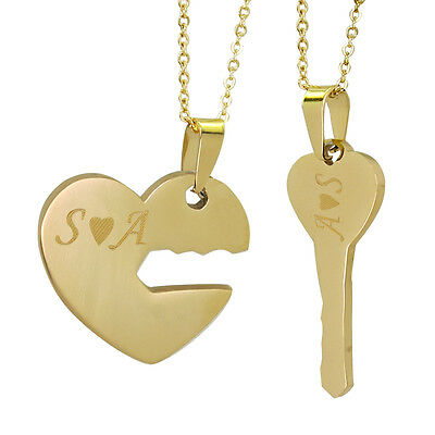 7f559d7906 His and Hers I Love You Heart Lock & Key Couple Pendant Necklaces for Couple -