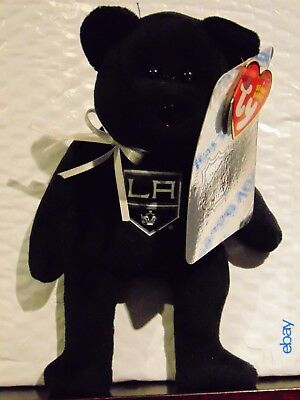 "2018 NEW NHL Los Angeles Kings 8"" Ty Beanie Baby Hockey Bear"