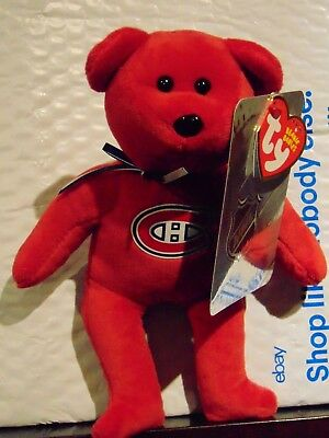 "2018 NEW NHL Montreal Canadians 8"" Ty Beanie Baby Hockey Bear"
