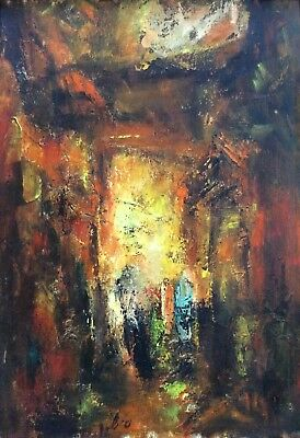 HAIM SITTON (1926-1998) , Oil on Board , Alley in Jerusalem, Signed, Abstract
