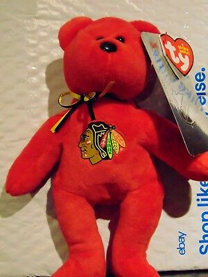 "2018 NEW NHL Chicago Blackhawks 8"" Ty Beanie Baby Hockey Bear"