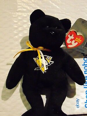 "2018 NEW NHL Pittsburgh Penguins 8"" Ty Beanie Baby Hockey Bear"