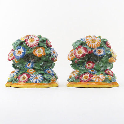 Pair of Polychrome Italian Deruta Faience Pottery bookends