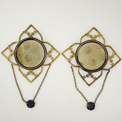 Pair of Antique French Gilt Bronze and Enamel Hanging Frames