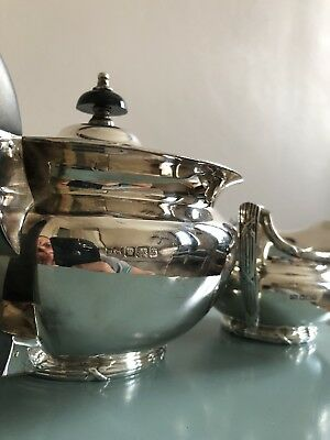 Antique Solid Silver Mappin Webb Teapot 3 Pieces Set 850g England 19th Century