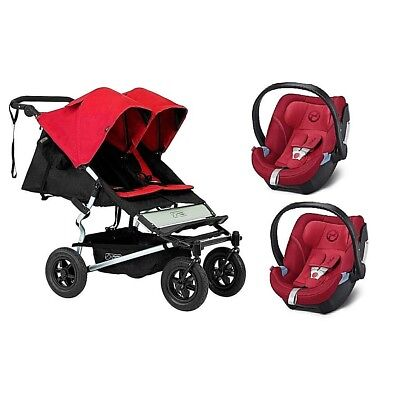 Poussette double Mountain Buggy Duet 2.5 chilli + 2 sièges Aton 5 red de Cybex