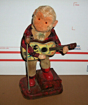 Vintage Antique  Old Collectible Japan Tin Toy Monkey with Guitar,  Altered