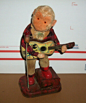 Vintage Antique  Old Japan Tin Toy Monkey with Guitar,  Altered Hipster