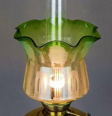 Art Nouveau Green Etched Glass Kerosene Paraffin Oil Lamp Duplex Tulip Shade
