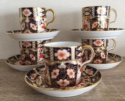 5 Stunning Antique Royal Crown Derby Imari Coffee Can and Saucer 2451 c1919