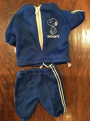 """Vintage 10"""" Snoopy Wardrobe Outfit Jogger Sweatsuit Blue Zippered Jacket"""