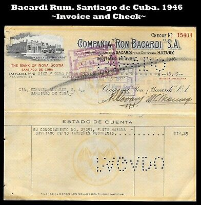 1946. INVOICE and CHECK of BANK of NOVA SCOTIA about  BACARDI RUM Co.
