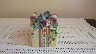 "Fitz & Floyd Small Trinket Box – Gift W. Ribbon & Bluebell Flowers 3"" Square"