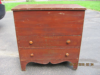 Red Grain Painted Two Drawer Pine Blanket Chest c.1850's