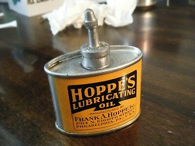 Vintage RARE HOPPE'S LUBRICATING GUN OIL TIN CAN HANDY OILER LEAD TOP Clean!