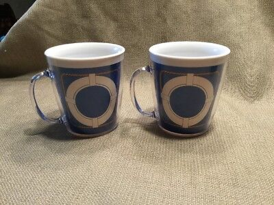 2 Vintage Plastic Insulated Coffee Mugs Cups ~ Nautical ~ Anchors