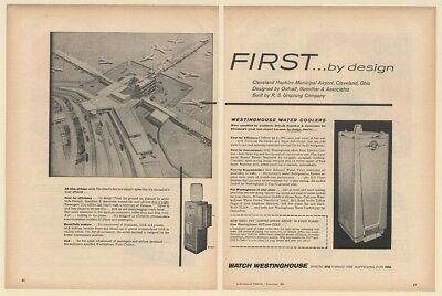 1956 Cleveland Hopkins Municipal Airport Westinghouse Water Coolers 2-Page Ad