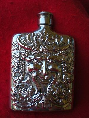 """1983 Silver Plated Flask GODINGER """"Bacchus Face"""" """"Repousse God of Wine"""""""