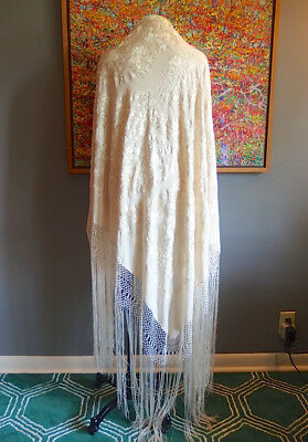 Vintage Ivory Silk Embroidered Flowers Crochet Long Fringe Piano Shawl 77 x 79
