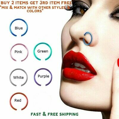 Multi- Color Titanium Anodized Stainless Steel Nose Ring Hoop 8mm 22 Gauge