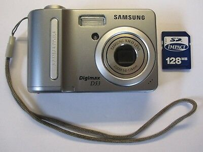 Samsung Digimax D53 5.1MP Digital Camera - Silver Tested Fast Free Shipping
