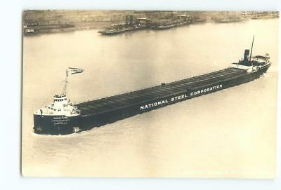 Great Lakes Freighter George R Fink Nat'l Steel '30s RPPC Antique Postcard 26193