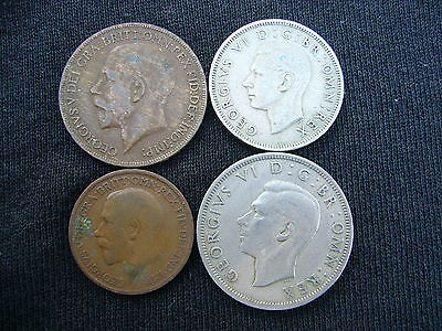 4 VINTAGE BRITISH COINS 1921, 1922, 1947, 1948 LOT George V & VI