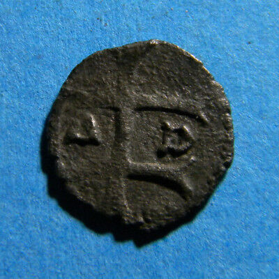 Medieval  European copper coin (B347) double cross mint marks