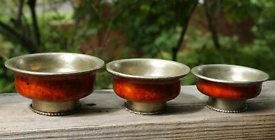 Three Antique Tibetan Root Tea Cups, Silver Bowls and Bands, Rare Beautiful Wood