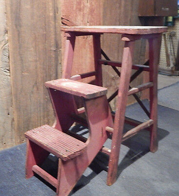 """Vintage 23"""" Two Step Small Wooden Step Stool Ladder"""