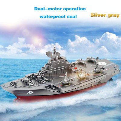 2.4GHz Remote Control Ship Aircraft Boat Warship Without Rod Antenna Silver Gray