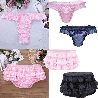 Sissy Mens Shiny Satin Ruffled Thong Briefs Bloomer Panties Skirted Underpants