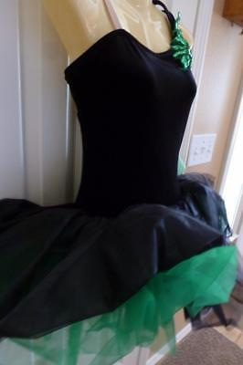 DANCE BALLET COSTUME TUTU Leotard Black Green Sequins Velvet Size M Adult