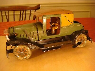 Antique Vintage Wind Up Tin Toy Car Dunlop Tires Made In Germany