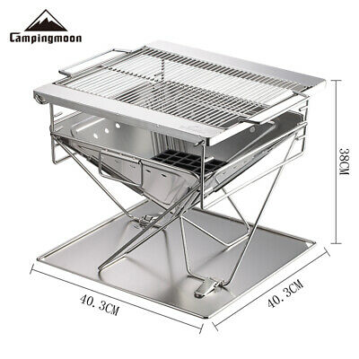 Camping Moon X-BBQ Large Stainless Steel Portable Folding Fire Pit Charcoal