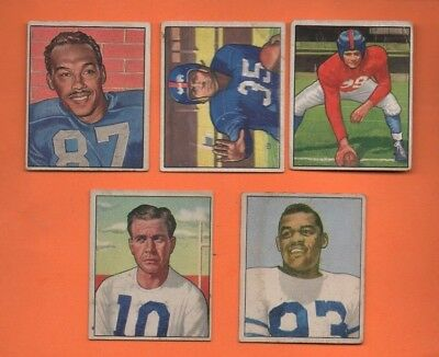 Lot of 5 1950 Bowman Football Cards - Lower Grade Lot - Front/Back Scans
