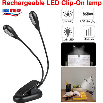 2 Arms Rechargeable Music Stand LED Light Clip-on Dimmable Bed Book Reading Lamp
