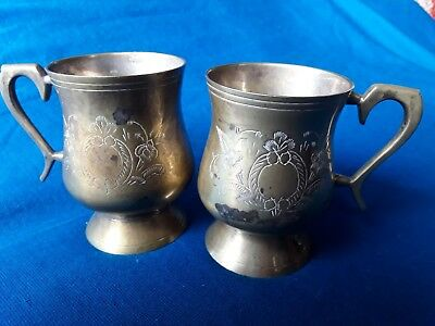 Vintage MATCHING BRASS PAIR goblets cups mug Antique FLORAL ETCHING 10cm RARE