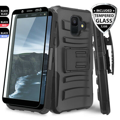For [Samsung Galaxy A6 2018]Rugged Phone Case Cover Holster+Black Tempered Glass