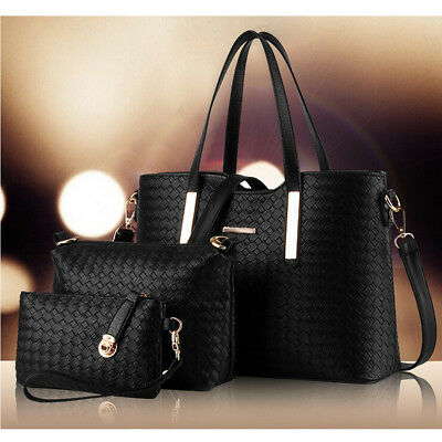 3PCS/SET Women Leather Satchel Handbag Shoulder Messenger Crossbody Bag Wallet