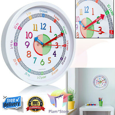 Wall Clock Silent Round Kids Time Teacher to Read Learn to Tell Time Silent NEW