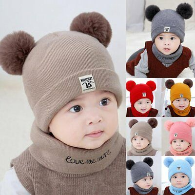 Toddler Kids Girl&Boy Baby Infant Winter Crochet Knit Hat Beanie Cap With Scarf